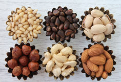 Different kinds of nuts. Abstract image of different types of nuts Stock Photos