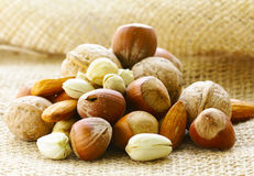 Different kinds of nuts (almonds, walnuts, hazelnuts) Royalty Free Stock Photography