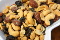 Different kinds of nuts as a salty snack Royalty Free Stock Photos