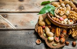Different kinds of nuts in bowl with leaves stock image