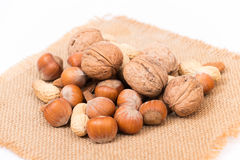 Different kinds of nuts Stock Photos