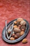 Different kinds of nuts in shell. Hazelnut, walnut, almond and brazil nuts on the plate with nut cracker, vertical, red background stock images