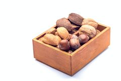 Different kinds of nuts in the shell: hazelnut, walnut, almond and brazil nuts in the wooden box, isolated on a white background stock photo