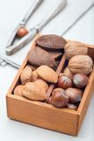 Different kinds of nuts in shell, hazelnut, walnut, almond and brazil nuts in the wooden box with nut cracker on background, stock images