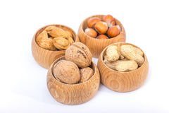 Different kinds of nuts Royalty Free Stock Photos