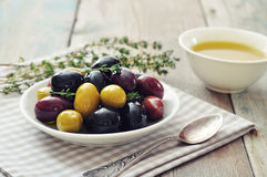 Different kinds of olives Royalty Free Stock Photography