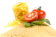 Different kinds of pasta. And ingredients royalty free stock image