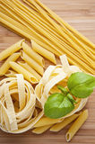 Different kinds of pasta Royalty Free Stock Photos