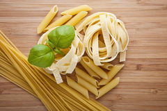 Different kinds of pasta Stock Photos