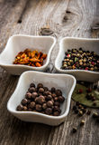 Different kinds of pepper in bowls Royalty Free Stock Photo