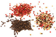 Different kinds of peppercorn beans isolated Royalty Free Stock Image