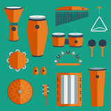 Different kinds of percussion on a colored background Stock Images