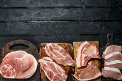 Different kinds of pork meat royalty free stock photography