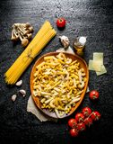 Different kinds of raw pasta with mushrooms and tomatoes. On black rustic background royalty free stock images