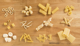 Different kinds of raw pasta Royalty Free Stock Image