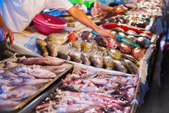 Different kinds of seafood at fish market Royalty Free Stock Image
