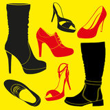 Different kinds of shoes Stock Photos
