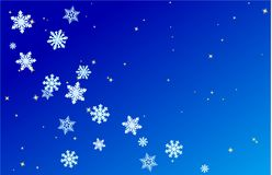 Snowflakes and stars on a blue background vector illustration