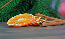 Different kinds of spices and dried oranges Stock Photos