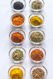 Different kinds of spices and herbs Royalty Free Stock Images