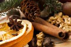 Different kinds of spices, nuts and dried oranges Stock Photo