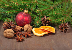 Different kinds of spices, nuts, dried oranges and cones, Christ Stock Images