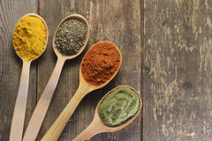 Different kinds of spices Stock Photos