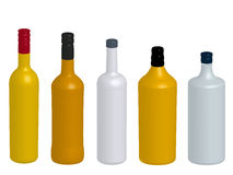 Different Kinds of Spirits Bottles Without Labels 3D Stock Photography