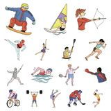 Different kinds of sports cartoon icons in set collection for design. Athlete, competitions vector symbol stock web vector illustration