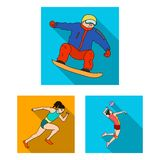 Different kinds of sports flat icons in set collection for design. Athlete, competitions vector symbol stock web stock illustration