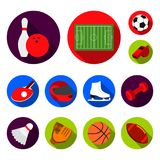 Different kinds of sports flat icons in set collection for design. Sport equipment vector symbol stock web illustration. Different kinds of sports flat icons in Stock Images