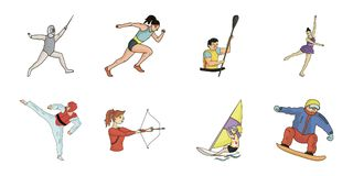 Different kinds of sports icons in set collection for design. Athlete, competitions vector symbol stock web illustration. Different kinds of sports icons in set stock illustration