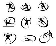 Different kinds of sports symbols Stock Image