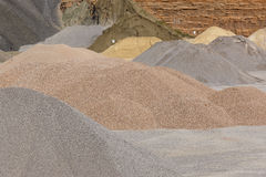 Different kinds of stone on a gravel quarry. Construction Royalty Free Stock Image