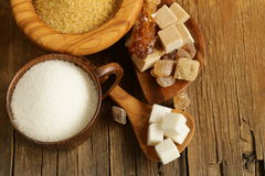 Different kinds of sugar - brown, white, refined sugar Royalty Free Stock Photos
