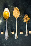 Different Kinds of Sugar in the Spoons Stock Photos