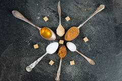 Different Kinds of Sugar in the Spoons Royalty Free Stock Photos