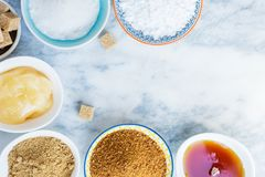 Different Kinds of Sugar and Sweeteners in the Bowls Stock Images