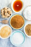 Different Kinds of Sugar and Sweeteners in the Bowls Royalty Free Stock Photography