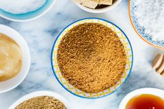 Different Kinds of Sugar and Sweeteners in the Bowls Royalty Free Stock Image
