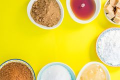 Different Kinds of Sugar and Sweeteners in the Bowls Stock Photo