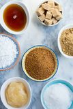 Different Kinds of Sugar and Sweeteners in the Bowls Royalty Free Stock Photo