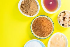 Different Kinds of Sugar and Sweeteners in the Bowls Royalty Free Stock Photos
