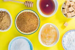 Different Kinds of Sugar and Sweeteners in the Bowls Stock Image