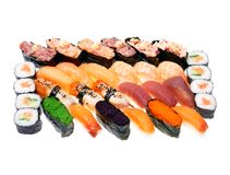 Different kinds of sushi roll. Isolated on white background. Japanese cuisine stock photo