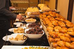 Different kinds of sweets and baked goods at the banquet, Stock Photography