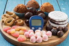 Different kinds of sweets and a device for measuring blood gluco Royalty Free Stock Photos