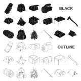 Different kinds of tents black icons in set collection for design. Temporary shelter and housing vector symbol stock web. Different kinds of tents black icons in stock illustration