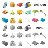 Different kinds of tents cartoon icons in set collection for design. Temporary shelter and housing vector symbol stock. Illustration stock illustration