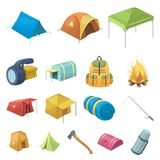 Different kinds of tents cartoon icons in set collection. For design. Temporary shelter and housing vector symbol stock  illustration Royalty Free Stock Photo